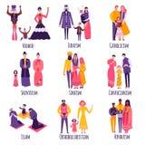 Grupo religioso diferente do plano das famílias ilustração stock
