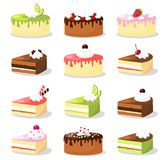 Grupo retro bonito de vários bolos com creme e fruto, coleção do alimento da ilustração Imagens de Stock