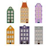 Grupo retro bonito do exterior das casas Coleção de fachadas europeias da construção Arquitetura tradicional de Bélgica e ilustração stock