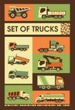 Grupo retro de caminhões Foto de Stock Royalty Free