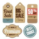 Grupo retro de etiquetas da venda e da qualidade do vintage, cartão Imagem de Stock Royalty Free
