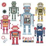 Grupo retro do robô Fotografia de Stock Royalty Free