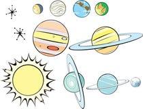 Grupo retro do sistema solar Fotos de Stock Royalty Free
