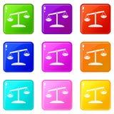 Grupo retro dos ícones 9 das escalas Imagem de Stock