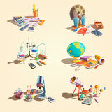 Grupo retro dos desenhos animados da ciência Foto de Stock