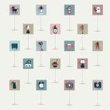 Grupo retro liso simplesmente minimalistic do ícone do símbolo. Fotos de Stock Royalty Free
