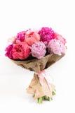 Grupo rico das peônias e das rosas de chá no fundo branco Imagens de Stock Royalty Free