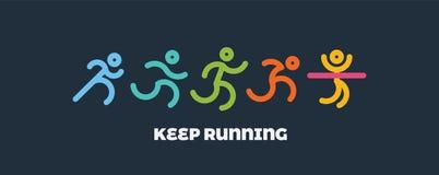 Grupo running dinâmico dos povos Esporte e ilustração saudável do estilo de vida para seu projeto competição e revestimento ilustração royalty free