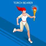 Grupo running do ícone dos jogos do verão das mulheres do relé do Torchbearer Conceito da velocidade atleta 3D isométrico Competi Imagem de Stock