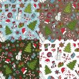 Grupo samless do teste padrão do Natal O inverno rabisca símbolos ilustração do vetor