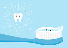 Grupo saudável do ícone do dente Dentífrico da escova de dentes Personagem de banda desenhada ilustração royalty free