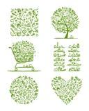 Grupo saudável do alimento, esboço para seu projeto ilustração stock
