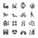 Grupo saudável e da aptidão do ícone, vetor eps10 ilustração stock