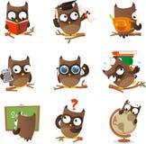 Grupo sábio dos desenhos animados da coruja Imagem de Stock