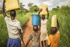 Grupo se crianças africanas novas que andam com cubetas e bidão em sua cabeça como se preparam para trazer a agua potável de volt imagem de stock