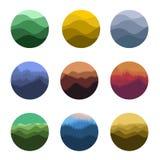 grupo selvagem colorido abstrato do logotipo das silhuetas da natureza da forma redonda Coleção dos logotypes do ambiente natural Imagens de Stock