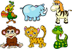 Grupo selvagem dos animais em segundo Foto de Stock Royalty Free