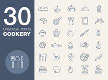 Grupo sem emenda do ícone do teste padrão 30 da cozinha Fotografia de Stock Royalty Free
