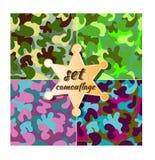 Grupo sem emenda do teste padrão da camuflagem colorida do vetor Foto de Stock