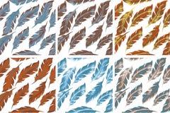 Grupo sem emenda do teste padrão do pássaro das penas Retro, estilo da garatuja Fundo infinito da pena, textura, contexto Vetor Fotos de Stock Royalty Free