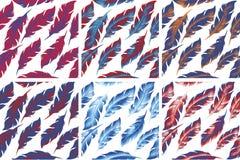 Grupo sem emenda do teste padrão do pássaro das penas Retro, estilo da garatuja Fundo infinito da pena, textura, contexto Vetor Foto de Stock Royalty Free