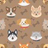 Grupo sem emenda do vetor do fundo do teste padrão das cabeças de cães Foto de Stock Royalty Free