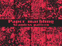 Grupo sem emenda marmoreando do teste padrão Aquarela do papel marmoreado Tiragem na água Texturas de Grunge Vetor Imagem de Stock Royalty Free