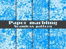 Grupo sem emenda marmoreando do teste padrão Aquarela do papel marmoreado Tiragem na água Texturas de Grunge Vetor Imagens de Stock Royalty Free