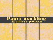 Grupo sem emenda marmoreando do teste padrão Aquarela do papel marmoreado Tiragem na água Texturas de Grunge Vetor Fotografia de Stock