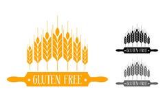 Grupo sem glúten do logotipo do vetor Sete orelhas do trigo perto do pino do rolo ilustração royalty free