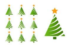 Grupo simples da árvore de Natal Fotografia de Stock Royalty Free