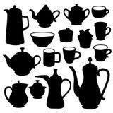 Grupo simples da silhueta da louça do chá do café Foto de Stock