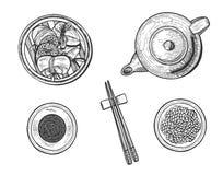 Grupo simples das bolinhas de massa chinesas do arroz ilustração royalty free
