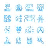 Grupo simples de ícone de Team Work símbolo linear branco do sinal do vetor ilustração stock