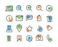 Grupo simples de ícones do vetor no tema da Web e do app Linhas pontilhadas pretas e inclinação moderno colorido em um fundo bran ilustração royalty free