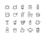 Grupo simples de linha fina ícones do vetor da bebida Foto de Stock