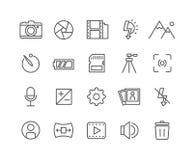 Grupo simples de linha fina ícones do vetor da câmera Fotos de Stock Royalty Free