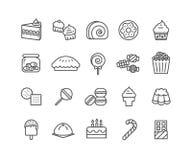 Grupo simples de linha fina ícones do vetor da sobremesa Imagens de Stock