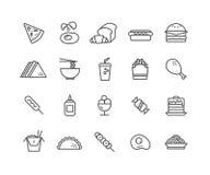Grupo simples de linha fina ícones do vetor do fast food Imagem de Stock