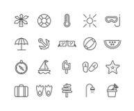 Grupo simples de linha fina ícones do vetor do verão Fotos de Stock