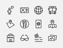 Grupo simples de linha relacionada ícones do vetor do curso Contém ícones como a bagagem, o passaporte, os óculos de sol e o mais ilustração royalty free