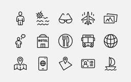 Grupo simples de linha relacionada ícones do vetor do curso Contém ícones como a bagagem, o passaporte, os óculos de sol e o mais ilustração do vetor