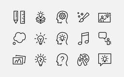 Grupo simples de linha relacionada ícones do vetor da faculdade criadora Contém ícones como a inspiração, a ideia, o cérebro e o  ilustração do vetor