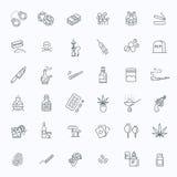 Grupo simples de linha relacionada ícones do vetor das drogas ilustração do vetor