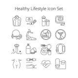 Grupo simples de linha saudável ícones do vetor do estilo de vida Contém tais ícones como malham, fazem massagens, plano da dieta ilustração stock