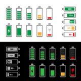 Grupo simples do ícone da bateria Fotos de Stock Royalty Free