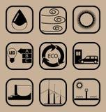 Grupo simples do ícone da ecologia Fotografia de Stock