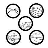 Grupo simples do ícone da paisagem Imagens de Stock Royalty Free