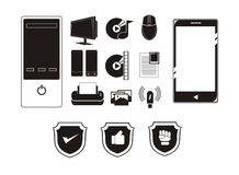 Grupo simples do ícone do dispositivo Fotos de Stock Royalty Free