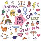 Grupo simples grande do feminismo com símbolos e texto do protesto ilustração stock